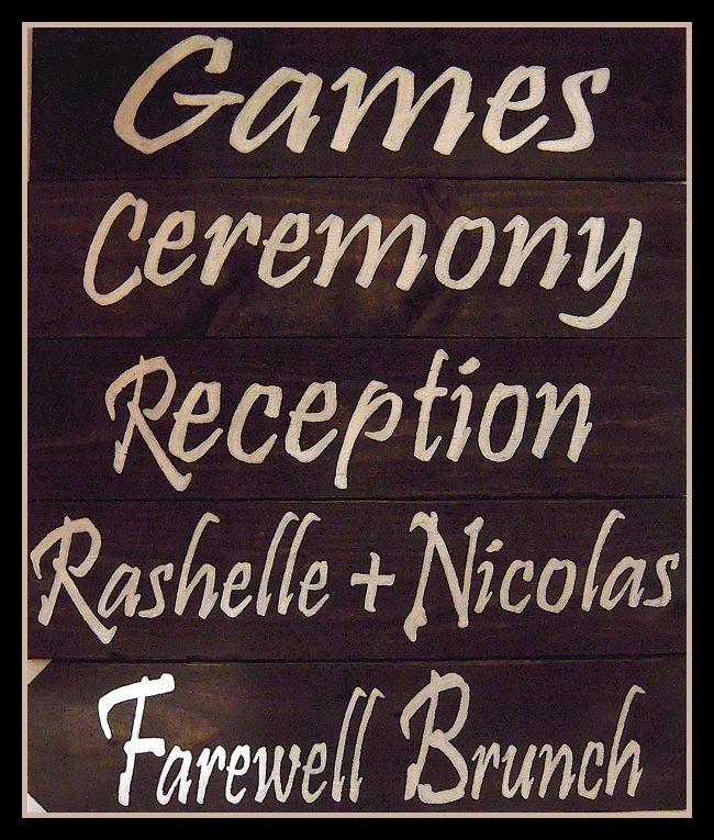 Making these custom wooden wedding signs for Rashelle Nicolas were so much