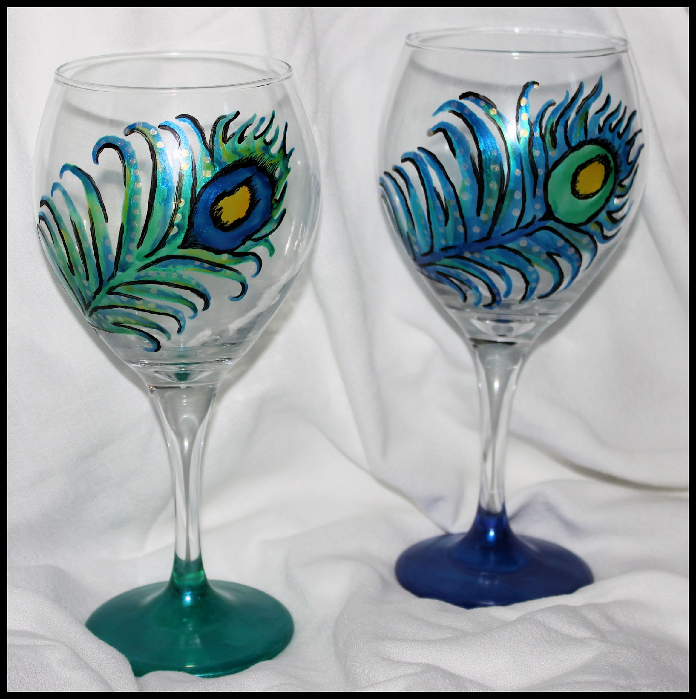 peacock wine glasses custom art by alexis