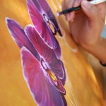Alexis Puleio painting purple orchids, Third On Canvas
